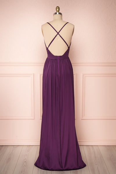 Harini Eggplant Purple Silky Gown w Plunging Neckline  | BACK VIEW | Boutique 1861