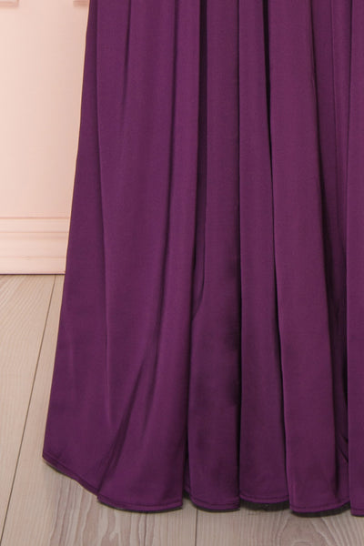 Harini Eggplant Purple Silky Gown w Plunging Neckline  | BOTTOM CLOSE UP | Boutique 1861