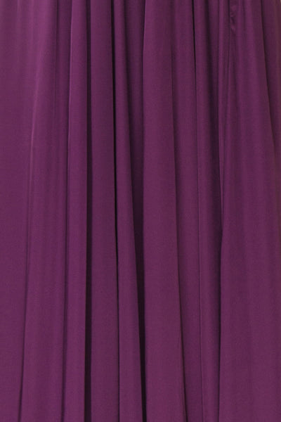Harini Eggplant Purple Silky Gown w Plunging Neckline  | FABRIC DETAIL | Boutique 1861