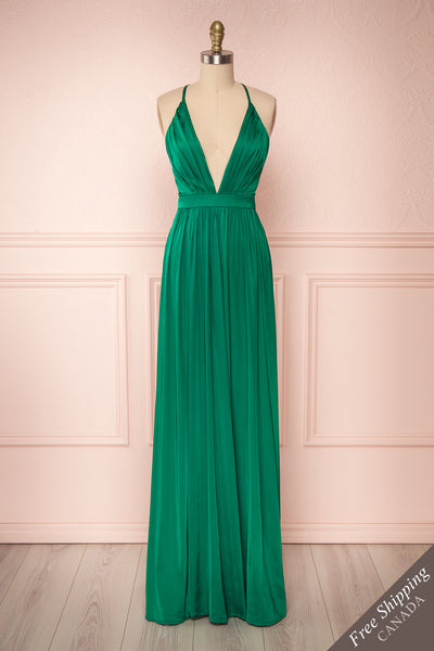Harini Green Silky A-Line Gown with Plunging Neckline | FRONT VIEW | Boutique 1861