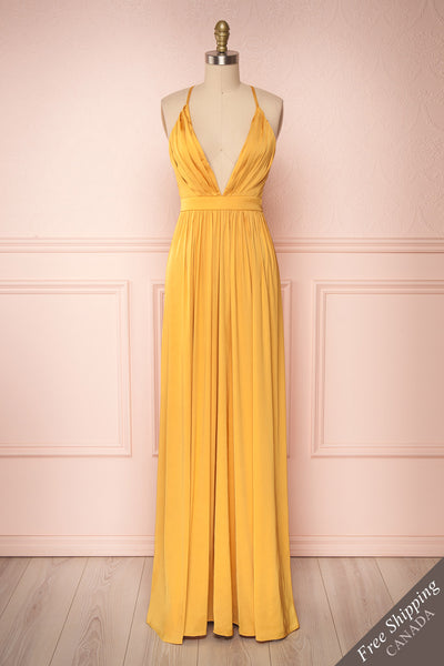Harini Mustard Yellow Silky Gown w Plunging Neckline | FRONT VIEW | Boutique 1861