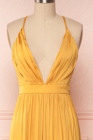 Harini Mustard Yellow Silky Gown w Plunging Neckline | FRONT CLOSE UP | Boutique 1861