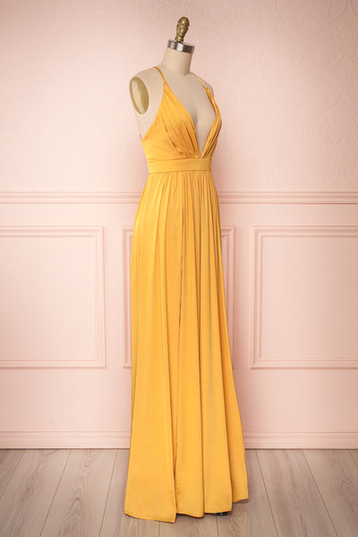 Harini Mustard Yellow Silky Gown w Plunging Neckline | SIDE VIEW | Boutique 1861