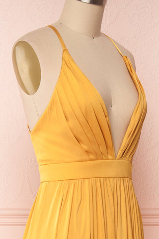 Harini Mustard Yellow Silky Gown w Plunging Neckline | SIDE CLOSE UP | Boutique 1861