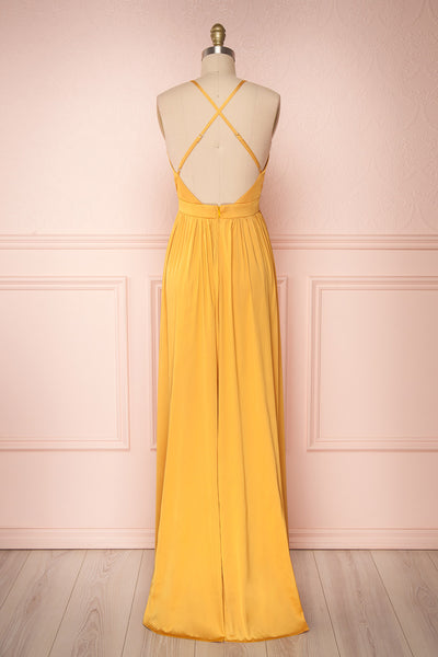 Harini Mustard Yellow Silky Gown w Plunging Neckline | BACK VIEW | Boutique 1861