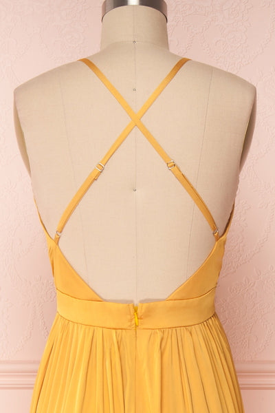Harini Mustard Yellow Silky Gown w Plunging Neckline | BACK CLOSE UP | Boutique 1861