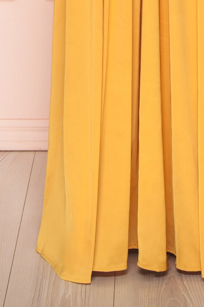 Harini Mustard Yellow Silky Gown w Plunging Neckline | BOTTOM CLOSE UP | Boutique 1861