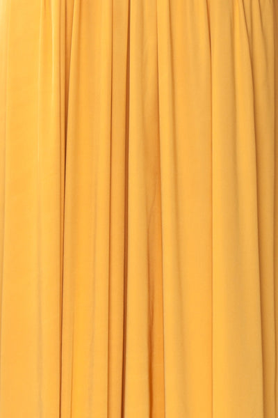 Harini Mustard Yellow Silky Gown w Plunging Neckline | FABRIC DETAIL | Boutique 1861