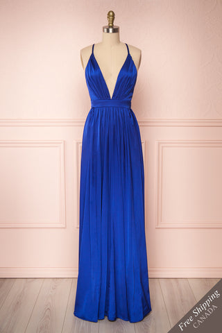 Harini Navy Royal Blue Silky Gown w Plunging Neckline | FRONT VIEW | Boutique 1861