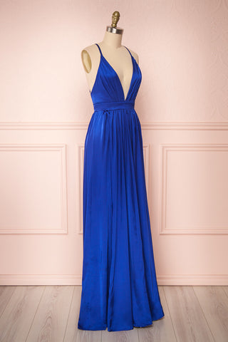 Harini Navy Royal Blue Silky Gown w Plunging Neckline | SIDE VIEW | Boutique 1861