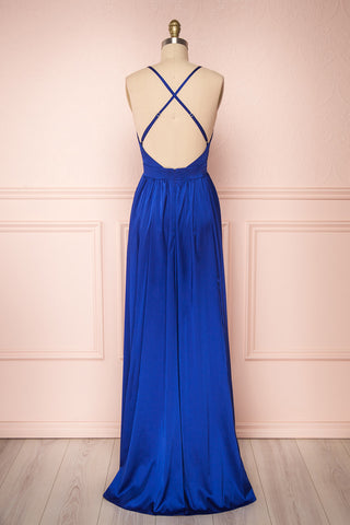 Harini Navy Royal Blue Silky Gown w Plunging Neckline | BACK VIEW | Boutique 1861