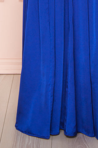 Harini Navy Royal Blue Silky Gown w Plunging Neckline | BOTTOM CLOSE UP | Boutique 1861