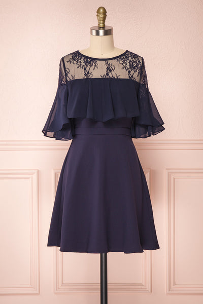 Hatsue Dark Navy Blue Chiffon & Lace Cocktail Dress | Boutique 1861