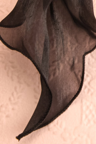 Heinola Noir Black Organza Hair Scrunchie with Bow fabric detail | Boutique 1861