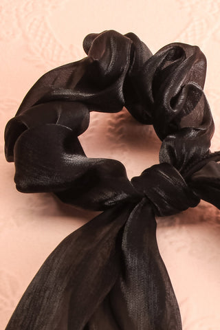 Heinola Noir Black Organza Hair Scrunchie with Bow close-up | Boutique 1861