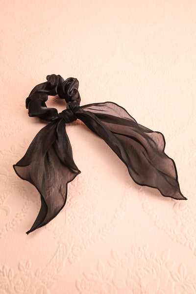 Heinola Noir Black Organza Hair Scrunchie with Bow | Boutique 1861