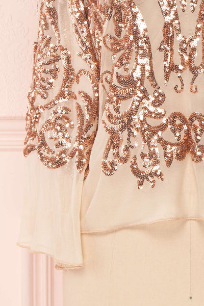 Hekinan Rose Gold Sequined Mesh Top | Boudoir 1861 7