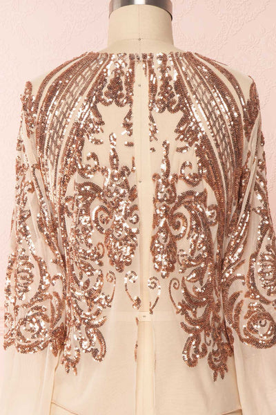 Hekinan Rose Gold Sequined Mesh Top | Boudoir 1861 6