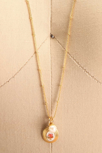 Helene Alarie Gold & Pearls Rose Pendant Necklace | Boutique 1861 close-up