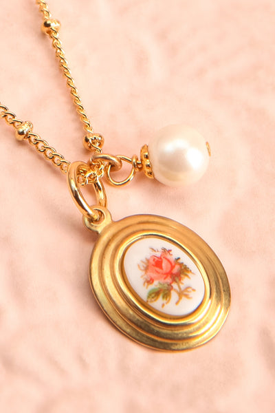 Helene Alarie Gold & Pearls Rose Pendant Necklace | Boutique 1861 flat close-up