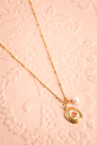 Helene Alarie Gold & Pearls Rose Pendant Necklace | Boutique 1861 flat view