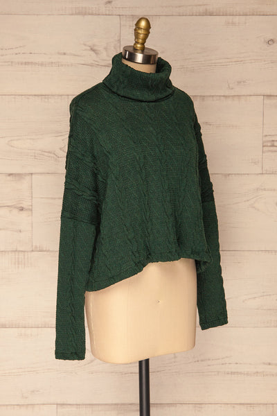 Hellen Forest Green Cropped Knit Sweater | La petite garçonne side view