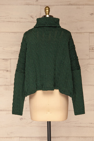 Hellen Forest Green Cropped Knit Sweater | La petite garçonne back view