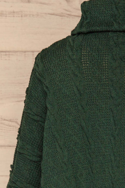 Hellen Forest Green Cropped Knit Sweater | La petite garçonne back close-up