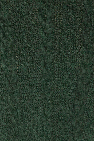 Hellen Forest Green Cropped Knit Sweater | La petite garçonne fabric