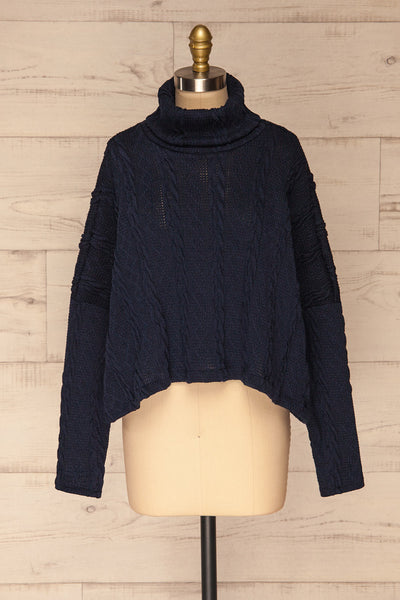 Hellen Navy Blue Cropped Knit Sweater | La petite garçonne front view