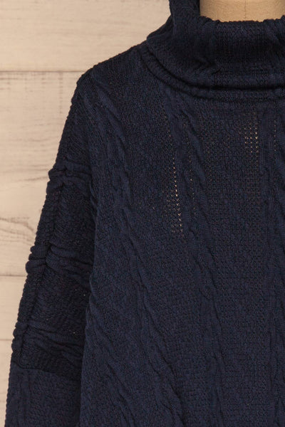Hellen Navy Blue Cropped Knit Sweater | La petite garçonne font close-up
