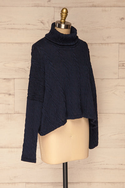 Hellen Navy Blue Cropped Knit Sweater | La petite garçonne side view