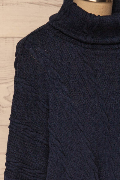Hellen Navy Blue Cropped Knit Sweater | La petite garçonne side close-up