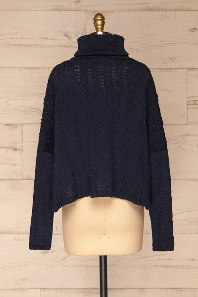 Hellen Navy Blue Cropped Knit Sweater | La petite garçonne back view
