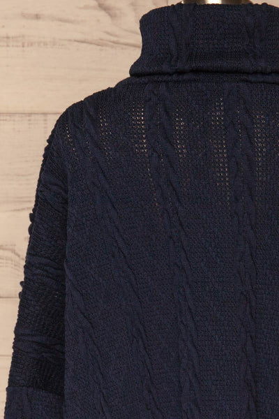 Hellen Navy Blue Cropped Knit Sweater | La petite garçonne back close-up