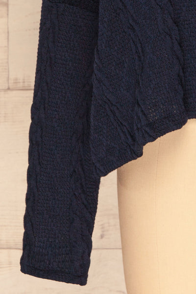 Hellen Navy Blue Cropped Knit Sweater | La petite garçonne bottom