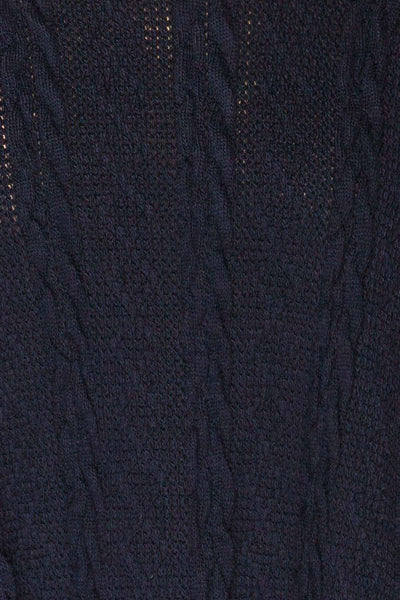 Hellen Navy Blue Cropped Knit Sweater | La petite garçonne fabric