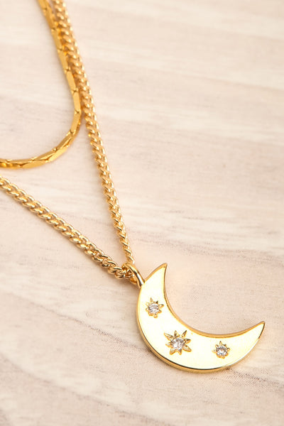 Henrietta Leavitt Moon Duo Necklace | La petite garçonne flat close-up