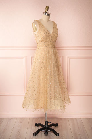 Henriette Gold Party Dress | Robe en Tulle side view | Boutique 1861