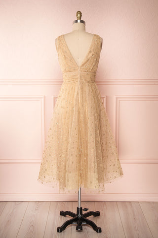 Henriette Gold Party Dress | Robe en Tulle back view | Boutique 1861