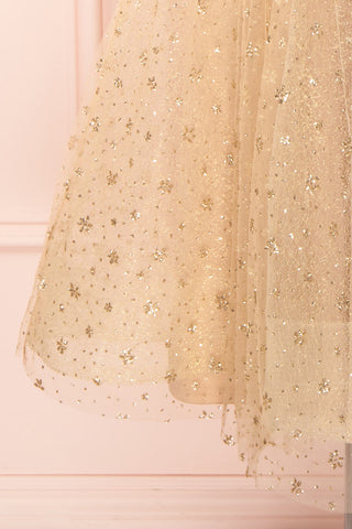 Henriette Gold Party Dress | Robe en Tulle skirt close up | Boutique 1861
