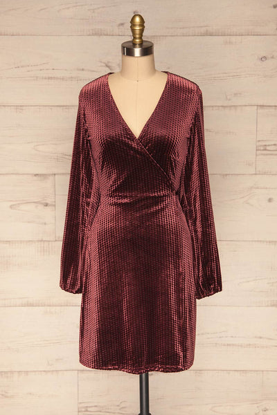 Herleen Bourgogne Red Pattern Velvet Wrap Dress | La Petite Garçonne front view