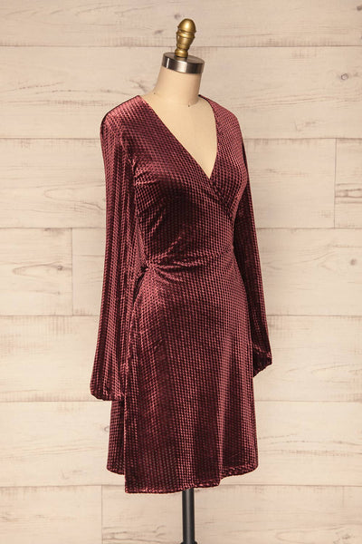 Herleen Bourgogne Red Pattern Velvet Wrap Dress | La Petite Garçonne side view