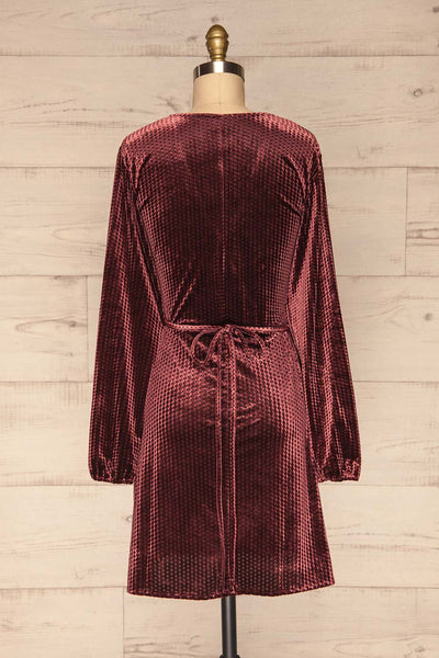 Herleen Bourgogne Red Pattern Velvet Wrap Dress | La Petite Garçonne back view