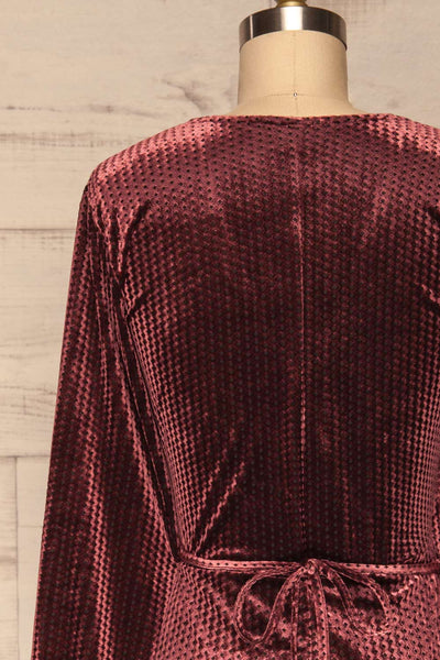 Herleen Bourgogne Red Pattern Velvet Wrap Dress | La Petite Garçonne back close-up