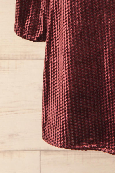 Herleen Bourgogne Red Pattern Velvet Wrap Dress | La Petite Garçonne bottom close-up