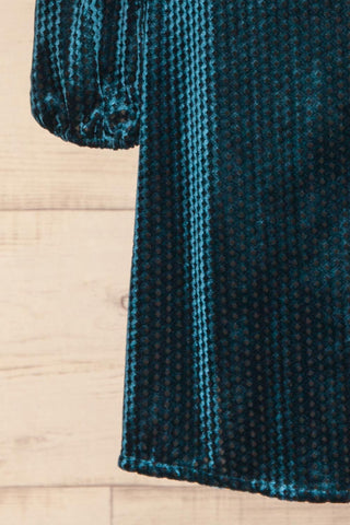 Herleen Turquoise Blue Pattern Velvet Wrap Dress | La Petite Garçonne bottom close-up