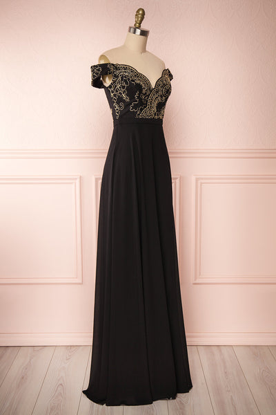 Hermeline Black Maxi Dress with Slit| | Boutique 1861 side view