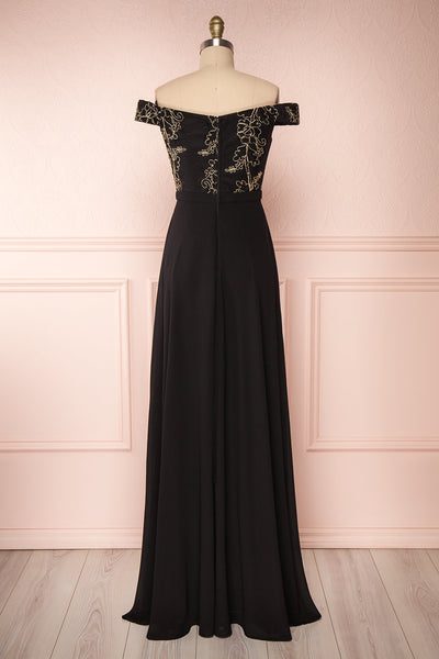 Hermeline Black Maxi Dress with Slit| | Boutique 1861 back view