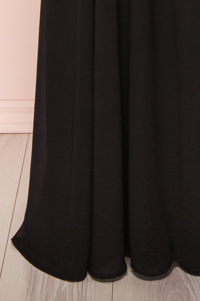 Hermeline Black Maxi Dress with Slit| | Boutique 1861 bottom close-up